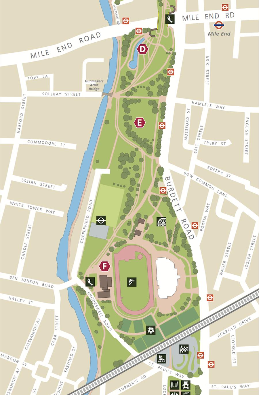 Mile End stadium map