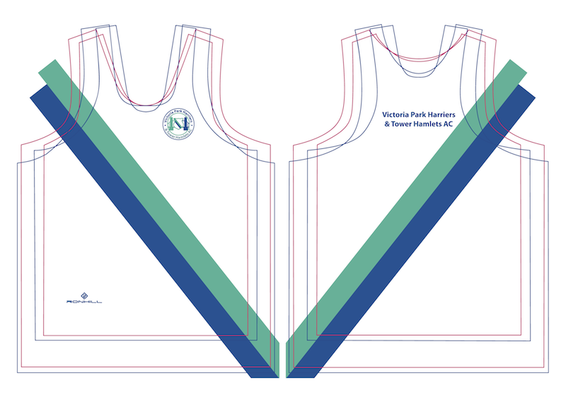 Final club vest design: a white vest with blue and jade sash from right shoulder diagonally downwards to the left