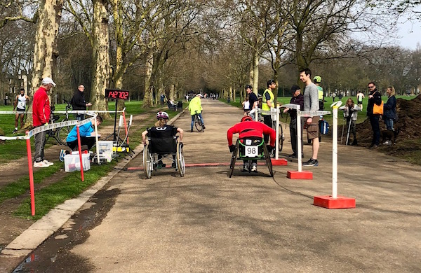 Start of the 2018 Victoria Park Open 5 Wheelchair Race